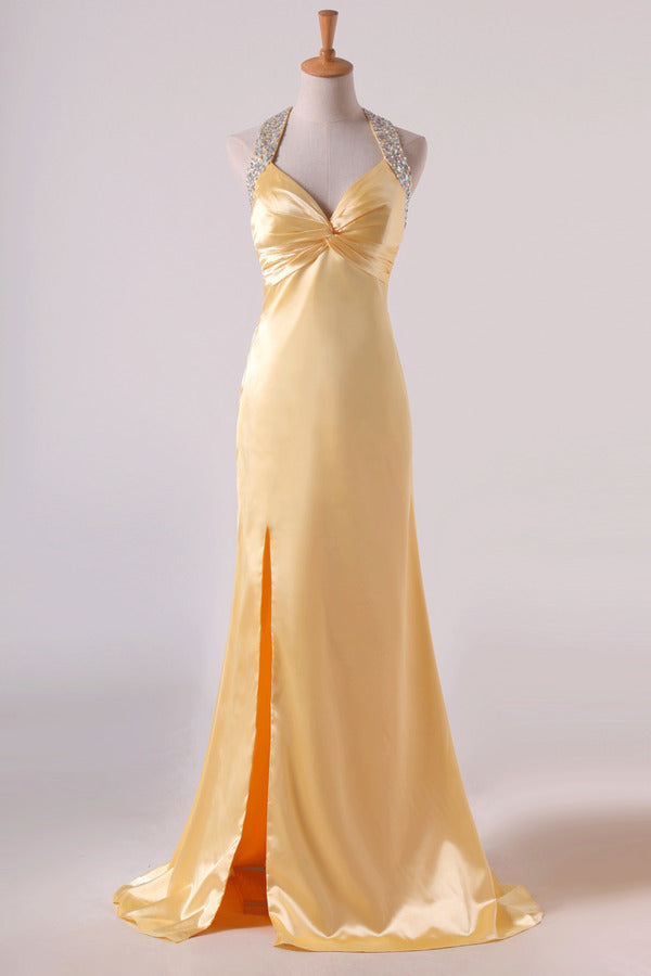 Shining Evening Dresses Halter Beading/Sequins Sheath PRGNZXJ6