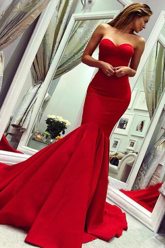 Sexy Red Sweetheart Mermaid Prom Dresses, Strapless Sweetheart Evening Dresses STI15348