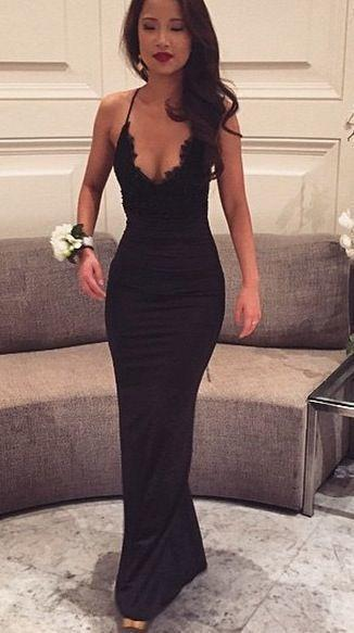 Sexy Black Lace Spaghetti Straps V-Neck Sleeveless Mermaid Prom Dresses For Teens