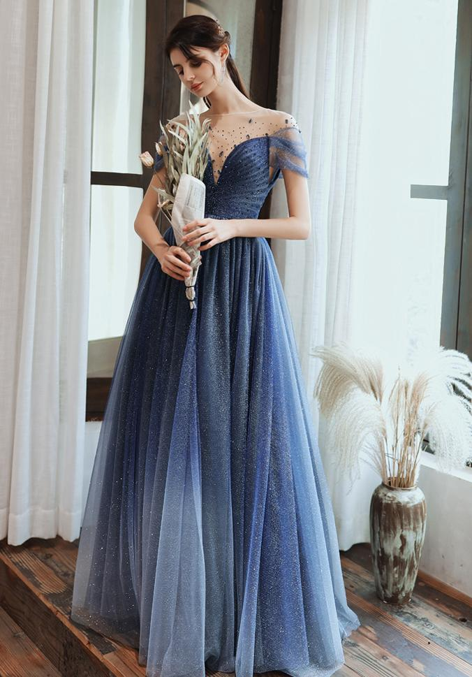 Charming A Line Blue Ombre Tulle Prom Dresses with Open Back, Evening STI15622