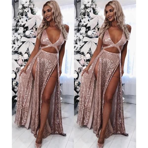 Sexy A-Line Rose Gold Sequins V Neck Prom Dresses with High Split Formal Dresses