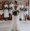 A line Long Sleeve Deep V Neck Lace Backless Wedding Dresses Long Bridal Dresses