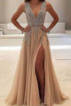 A line Tulle V Neck Pink Prom Dresses Long Backless Evening Dresses