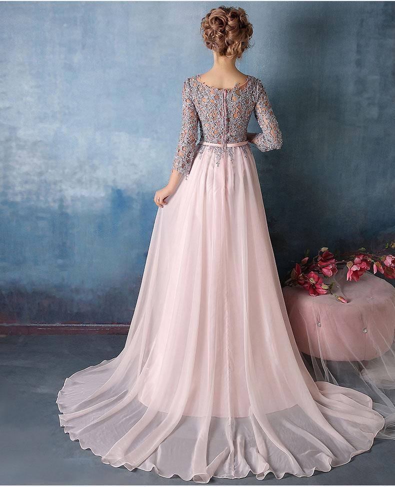 Scoop A-line Pink Chiffon with Silver Lace Appliqued Long 3/4 Sleeves Prom Dresses