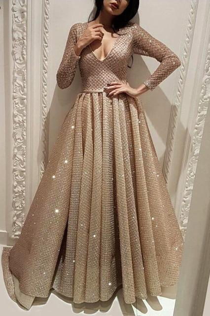 Long Sleeve A Line V Neck Gold Sequins Long Floor Length Prom Dresses