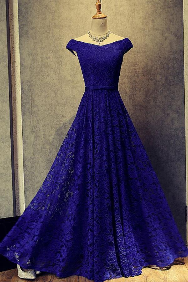 Simple Royal Blue A-Line Lace Off-the-Shoulder Lace up Hollow Prom Dresses