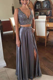 Sexy A Line Two Pieces V Neck Satin Split Side With Beading Prom Dresses