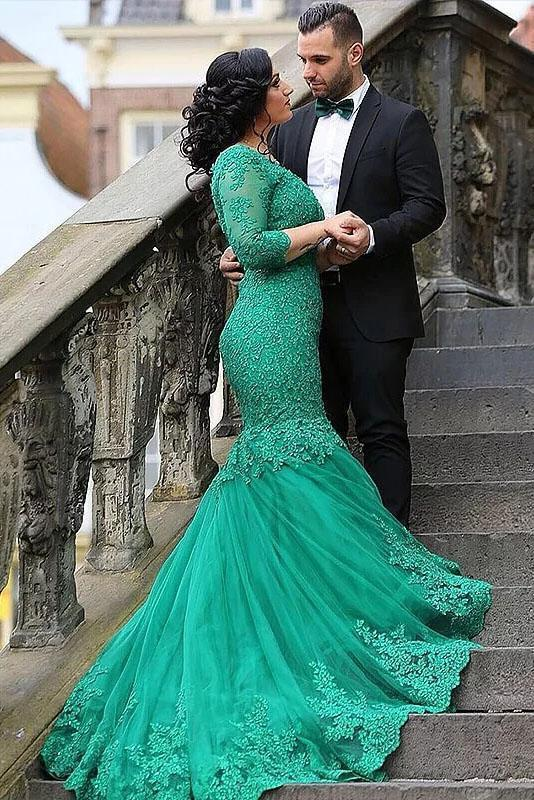 Sexy Green Mermaid V Neck Tulle Applique 3/4 Sleeves Sweep Train Plus Size Prom Dresses