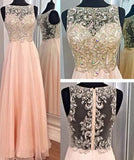 Stunning A-line Round Neck Beading Long Chiffon Prom Dresses Evening Dresses