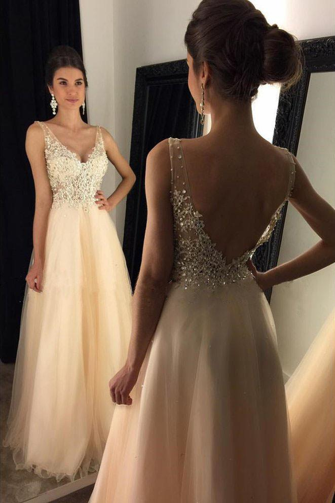 V-Neck Prom Dresses With Appliques Beaded Long A-line Tulle Prom Dresses