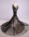 Mermaid Black Tulle Lace Appliques Long Sleeve V Back Scoop Cheap Prom Dresses