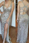 Luxurious Mermaid Long with Side Slit Sexy Backless Sequin V-Neck Sleeveless Prom Dresses