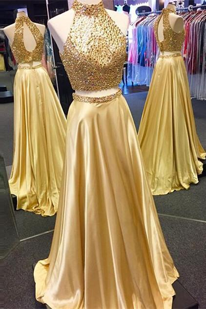 New Arrival Gold Two Pieces High Neck Pretty Sparkly Evening Party Prom Dress