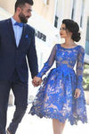 Unique Ball Gown Appliques Knee-Length Long Sleeve A-Line Tulle Royal Blue Sweet 16 Gown