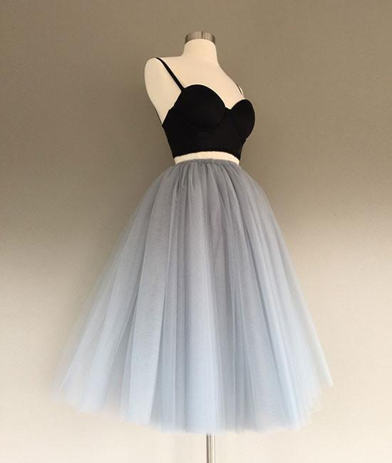 Two Pieces Black and Silver Short Tulle Sweetheart Spaghetti Strap Homecoming Dress
