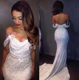 White Mermaid Off The Shoulder Long Ivory Sequins with Sparkle Formal Party Dresses For Teens