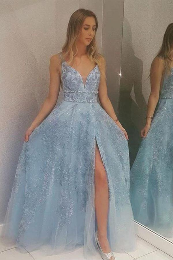 Light Blue Lace Appliques Prom Dresses with Slit Beads V Neck Evening Dresses