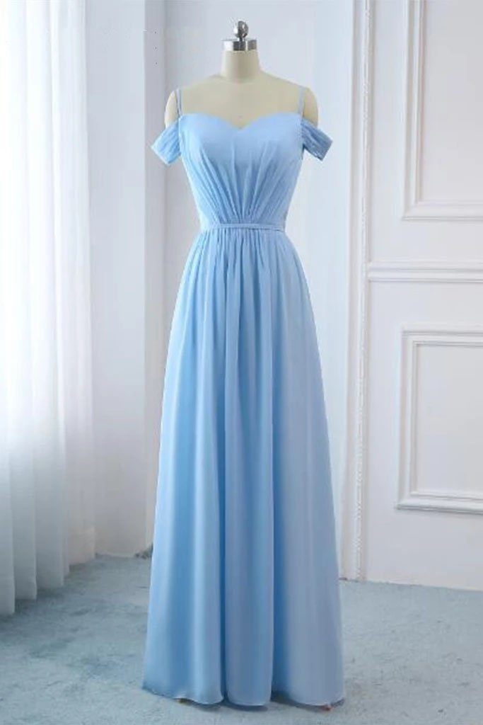 Light Sky Blue A-line Off the Shoulder Natural Waist Ruched Prom Dress Lace up Party Dress