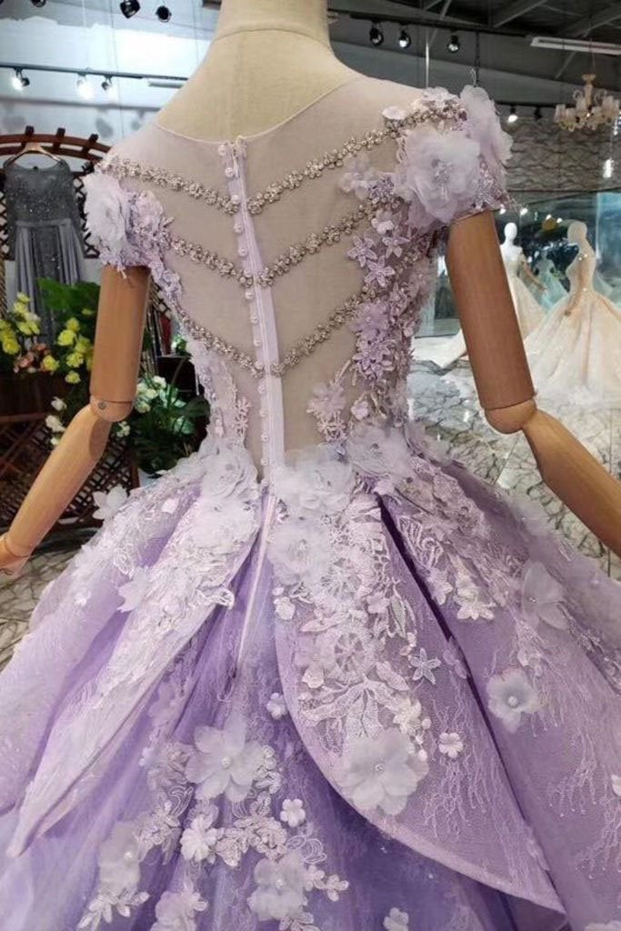 Lilac Ball Gown Short Sleeve Prom Dresses with Flowers Gorgeous Quinceanera Dress