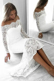 Long Sleeve Lace Appliques Sheath White Prom Dresses Off the Shoulder Wedding Dress