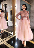Long Sleeve Pink High Neck Ankle Length Homecoming Dresses Beads Tulle Short Dress