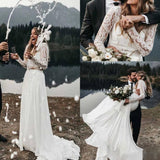 Long Sleeve Two Pieces Lace Round Neck Beach Wedding Dresses Chiffon Boho Bridal Gowns