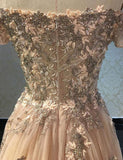 Luxurious A Line Off The Shoulder Evening Dress Long Prom Dress with Appliques