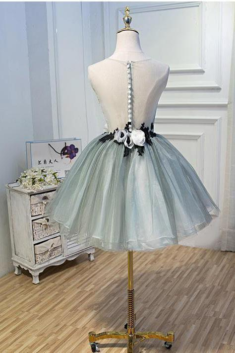 Luxury Waist Flowers See Through Backside Lolita Dress Short Tulle Homecoming Dresses