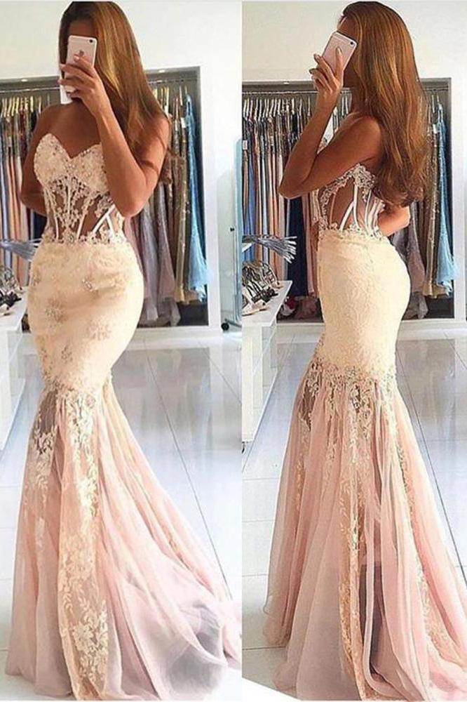 Mermaid Black Lace Strapless Sweetheart Prom Dresses Cheap Evening Dresses