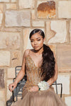 Mermaid Brown Sweetheart Beads Crystals Tulle Backless Prom Dresses Formal Dresses