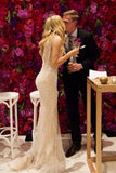 Mermaid Deep V Neck Straps V Back Sequins Ivory Wedding Dresses Long Bridal Dresses