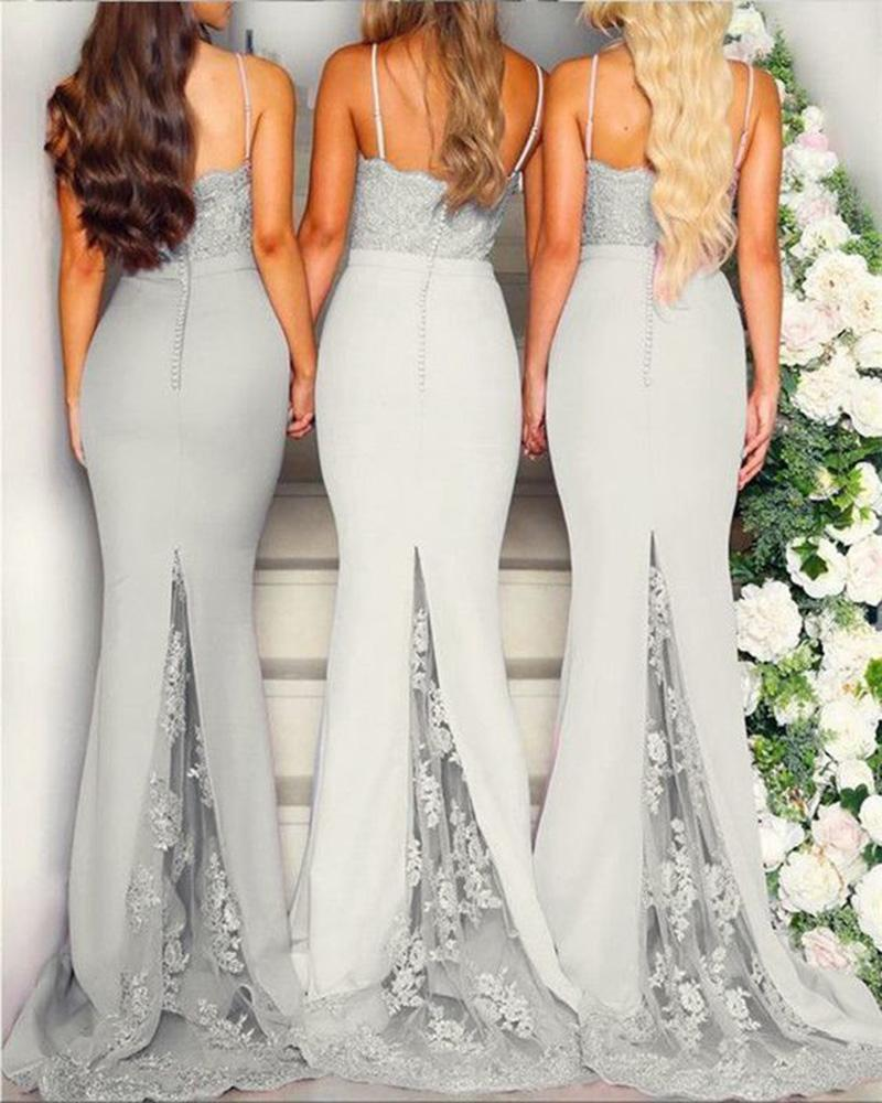 Mermaid Grey Spaghetti Straps Sweetheart Lace Satin Bridesmaid Dresses