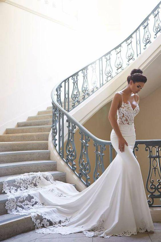 Mermaid Ivory Spaghetti Straps V Neck Wedding Dresses Lace Satin Bridal Dresses