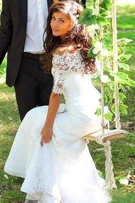 Mermaid Lace Appliques Half Sleeve Ivory Off the Shoulder Wedding Gowns with Lace up