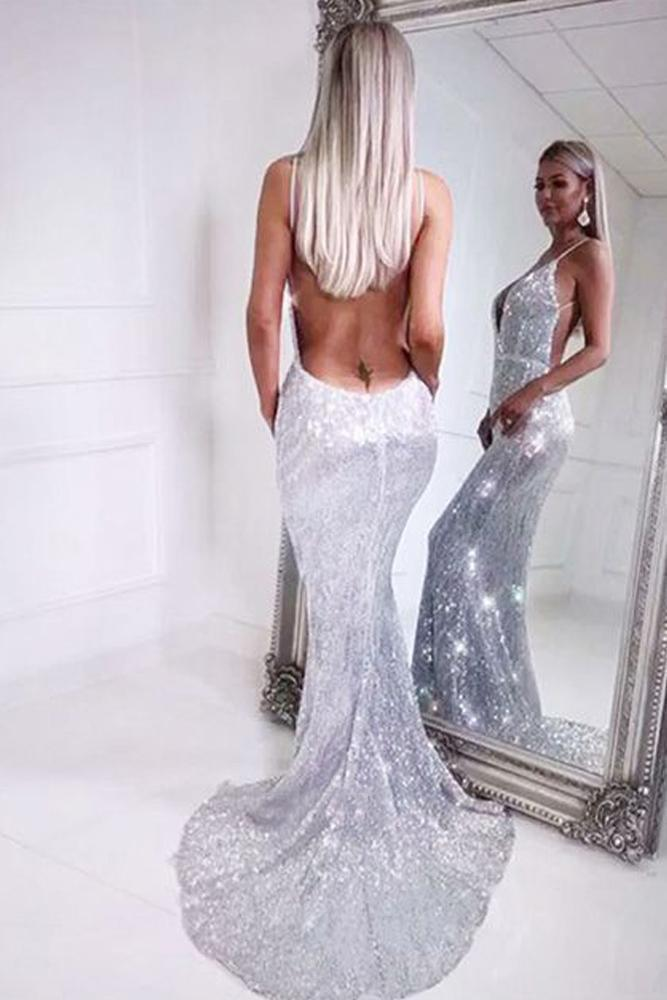 Mermaid Spaghetti Straps Silver Sequins V Neck Backless Prom Dresses Long Evening Dress
