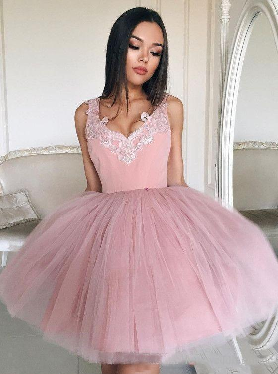 Mini Blush Pink Short Homecoming Dresses with V Neck Appliqued Tulle Prom Dresses