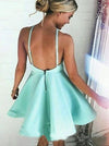 Mint satins backless A-line short dress mini party dresses