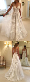 Elegant A-Line V-Neck Tulle Open Back Ivory Wedding Dresses with Lace Appliques
