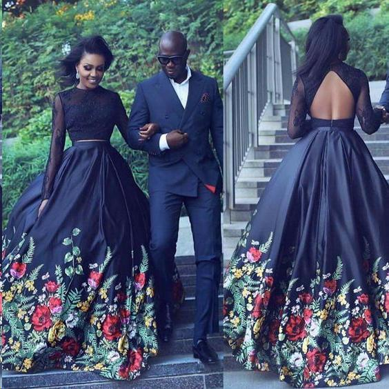 Two Piece Lace Floral Print Black Sexy Open Back Long Sleeve High Neck Prom Dresses