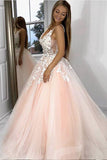 Princess V Neck Pink Long Tulle Lace Appliques Open Back Party Dress Prom Dresses