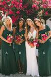 New Style Sheath Sweetheart Chiffon Dark Green Bridesmaid Dresses Wedding Party Dress