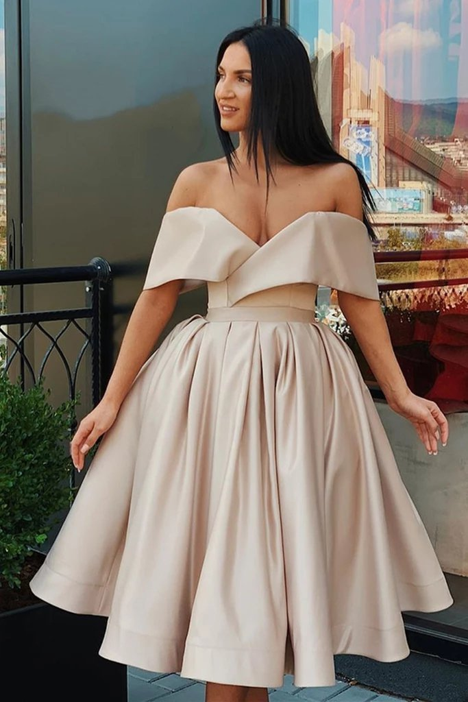 Off the Shoulder Satin V Neck Formal Homecoming Graduation Dresses Cocktail Dress
