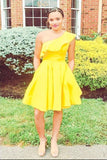 One Shoulder Yellow Satin Ruffled Above Knee Short Prom Dresses Formal Dresses