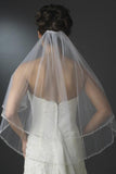 Two Layers Elbow Length Wedding Veil Beaded Edge