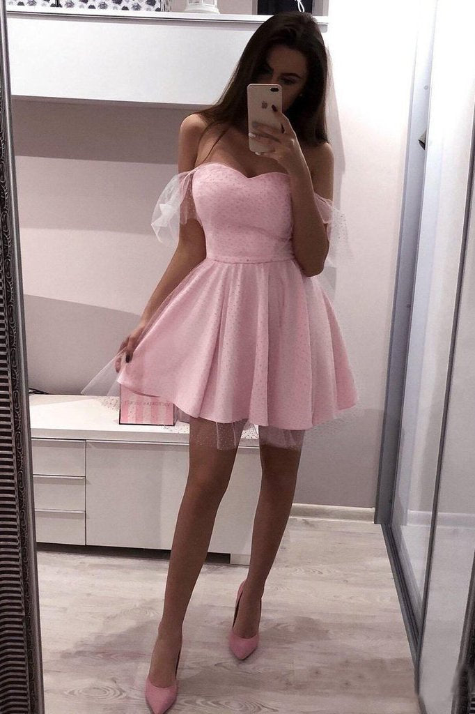 Pink Polka Dot Off the Shoulder Homecoming Dresses Sweetheart Neck Mini Hoco Dress
