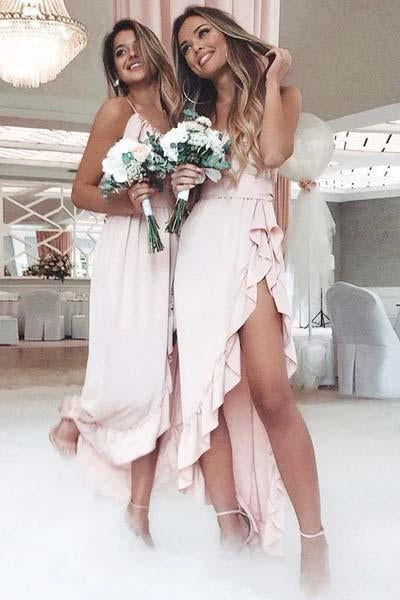 Pink Spaghetti Straps Sweetheart High Low Prom Dresses Chiffon Bridesmaid Dresses