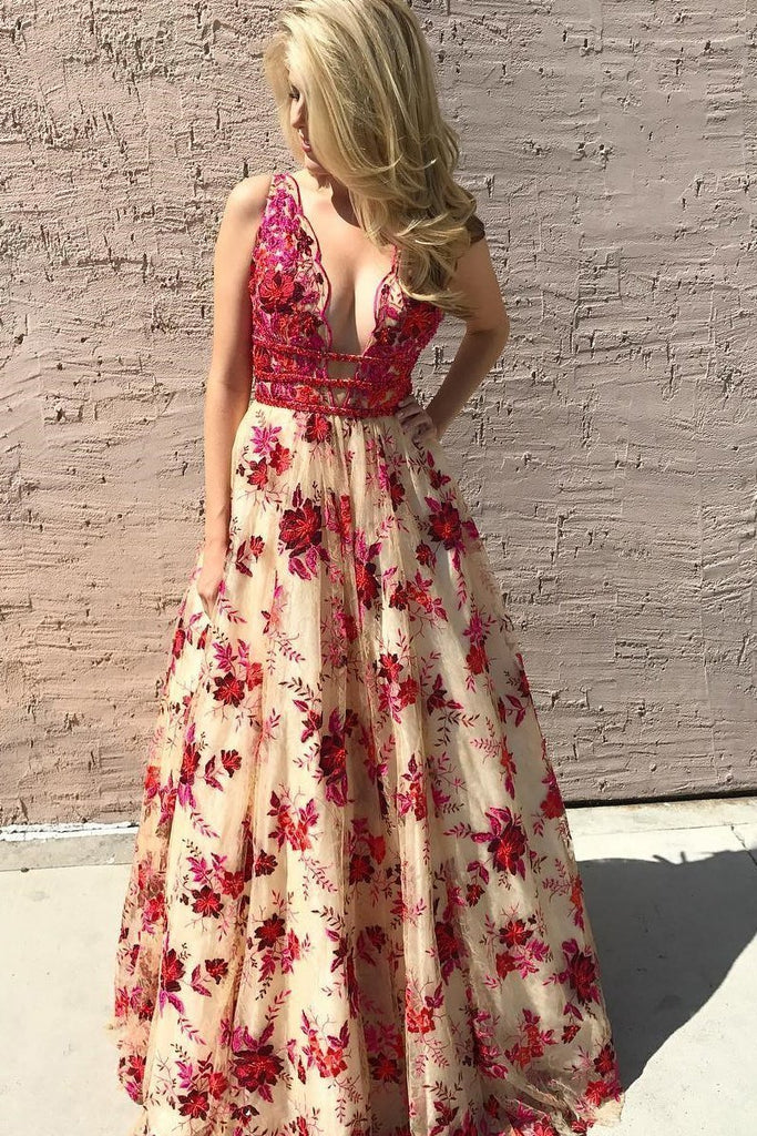 Princess A Line Lace V Neck Red Floral Sexy Long Prom Dresses Simple Evening Dresses