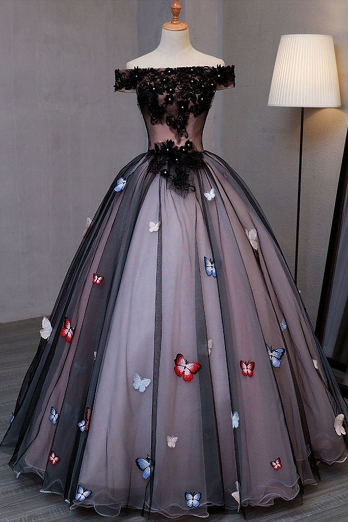 Princess Black Off the Shoulder Butterfly Appliqued Prom Dresses Quinceanera Dresses