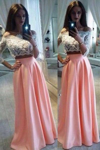 Pink chiffon two pieces lace long sleeves off-shoulder long prom