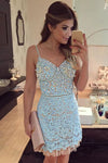 Light blue lace V-neck beading short Party dresses with spaghetti